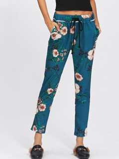 Floral Drawstring Crop Pants