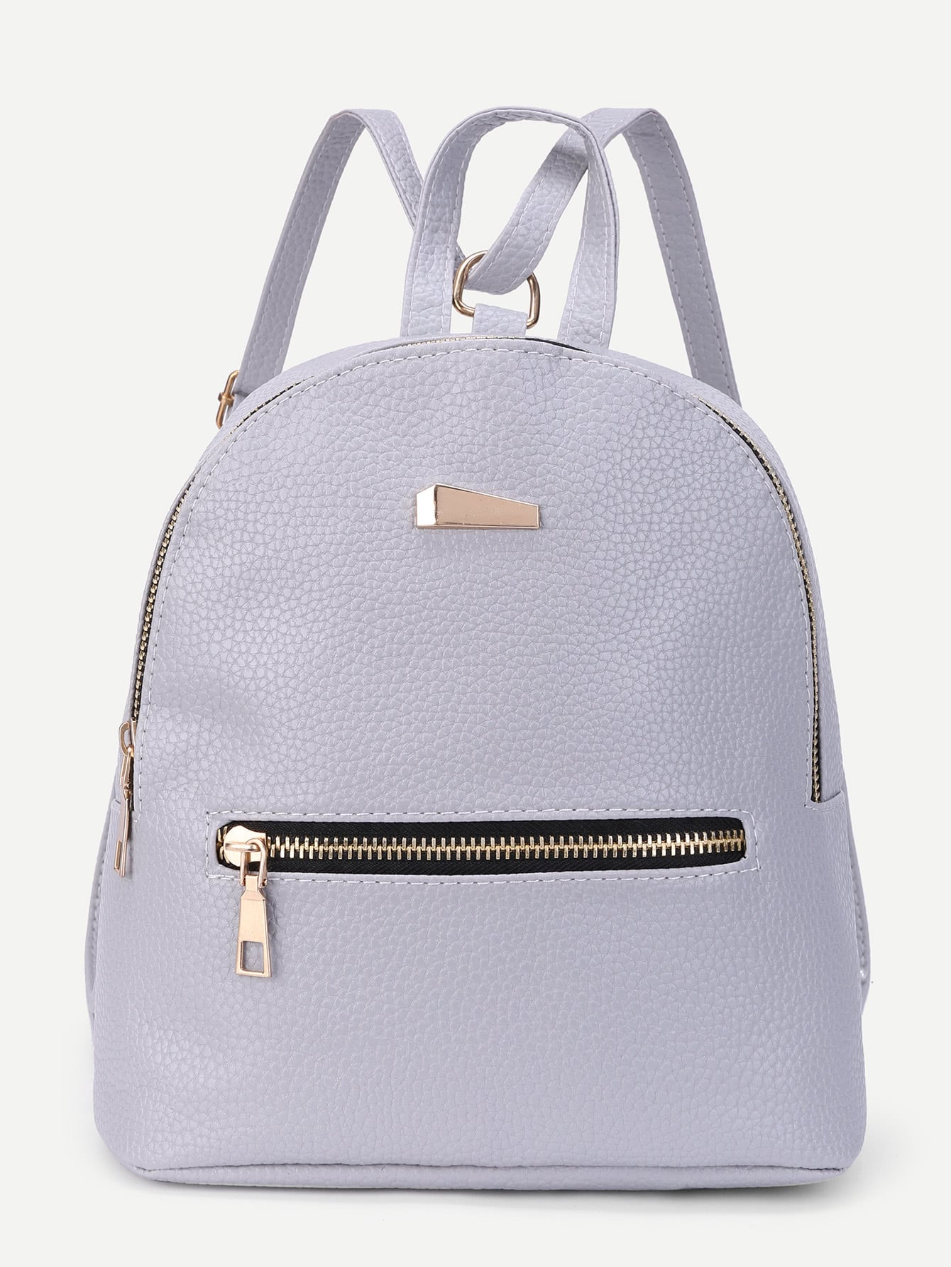 Metal Detail Front Zipper PU Backpack цена 2017