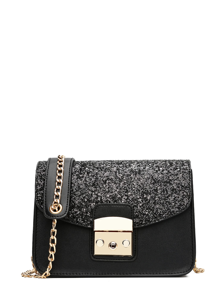Glitter Flap PU Shoulder Bag With Chain glitter flap pu shoulder bag with chain