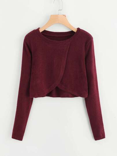 Split Front Crop Knit Top