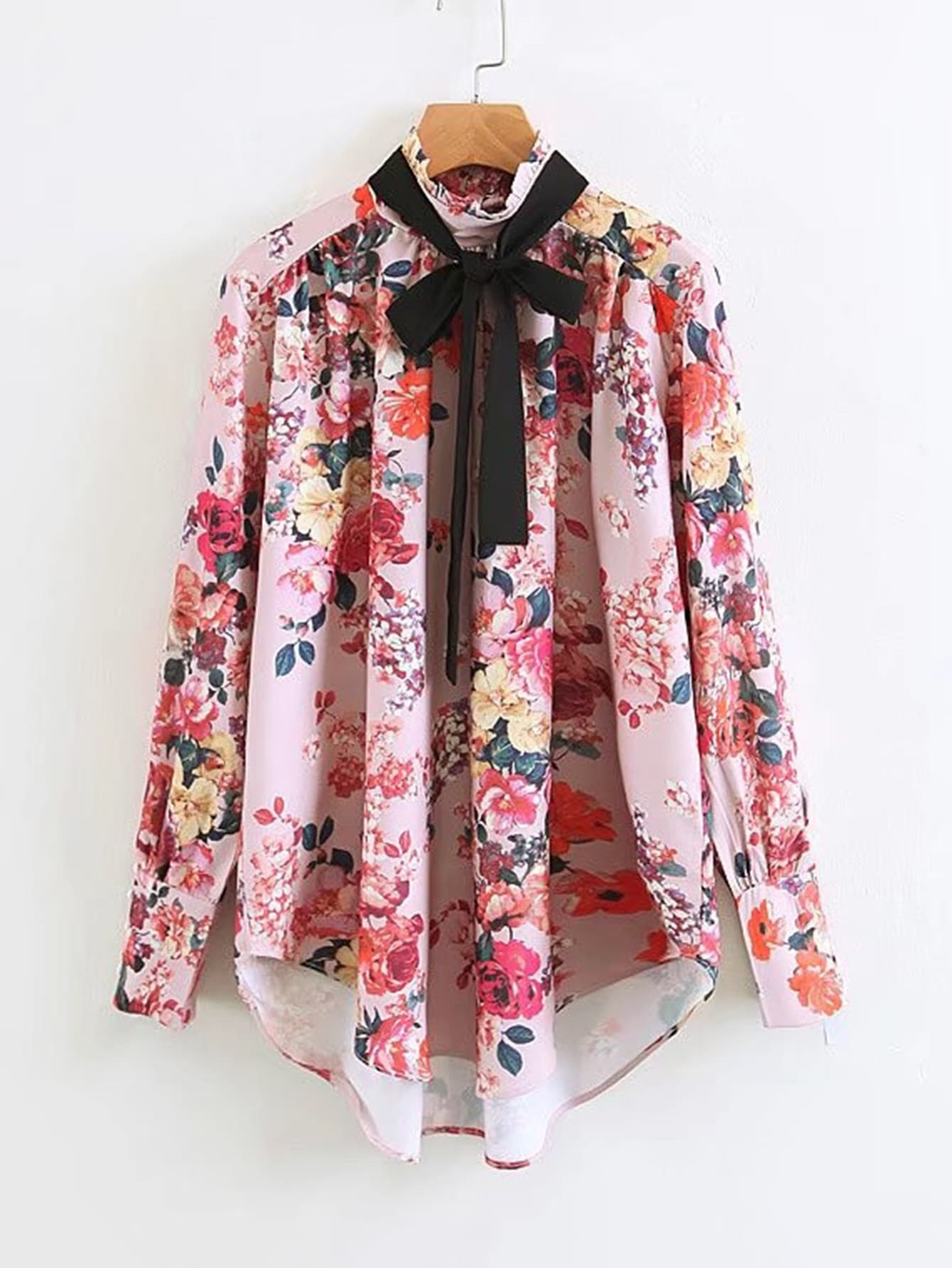 Tie Neck Dolphin Hem Floral Blouse ruched sleeve dolphin hem floral blouse