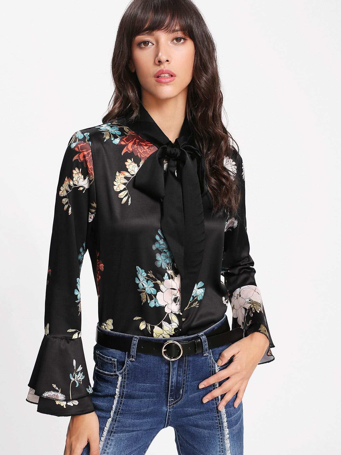 Botanical Print Flare Sleeve Shirt