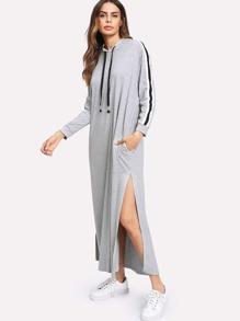 Robe Sweat-shirt encapuchonné divisé côté avec manche rayure