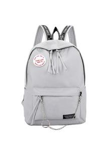Chain Detail Front Pocket Backpack