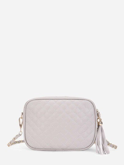 Quilted Crossbody Bag With Tassel