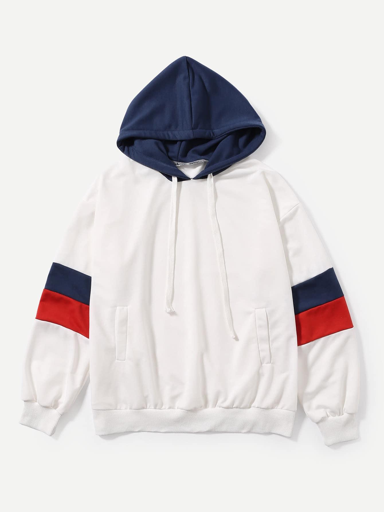 Stripe Contrast Sleeve Hoodie