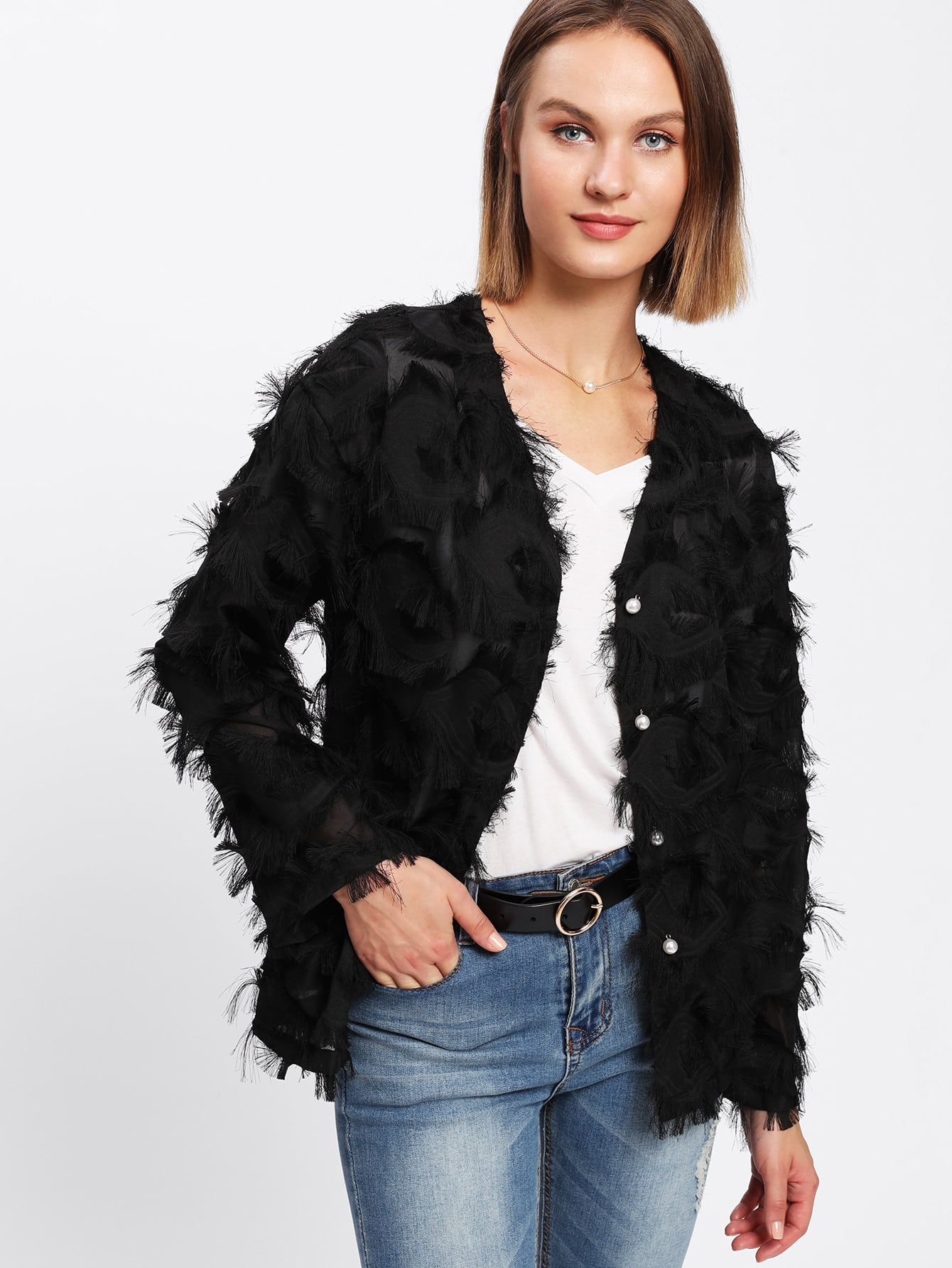 Image of Allover Fringe Pearl Buttoned Coat