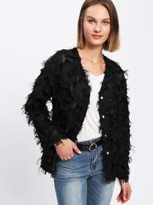 Allover Fringe Pearl Buttoned Coat