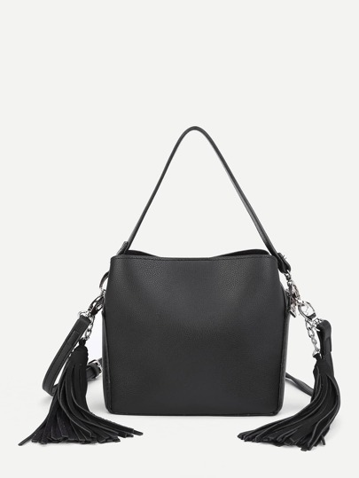 Double Tassel PU Shoulder Bag With Handle