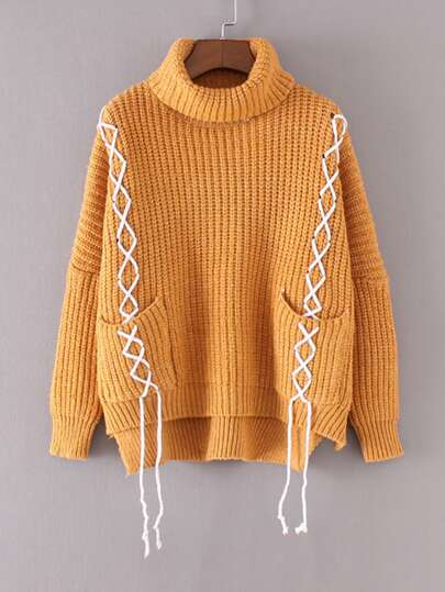 Contrast Lace Up Turtleneck Sweater
