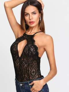 Eyelash Lace Crisscross Back Teddy