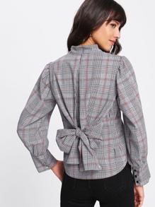 Bow Tie Back Tartan Plaid Shirt