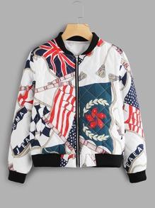 Flag Print Jacket