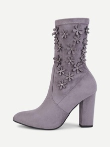Flower Decorated Suede Mid Calf Boots