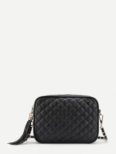 Tassel Zipper Quilted Crossbody Bag