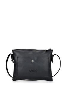 Faux Leather Zip Closure Clutch Bag