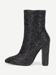 Sequin Overlay Pointed Toe Ankle Boots