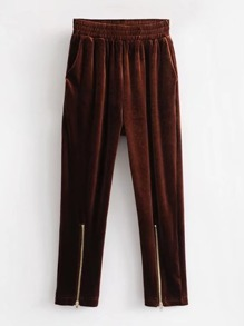 Zipper Cuff Velvet Pants