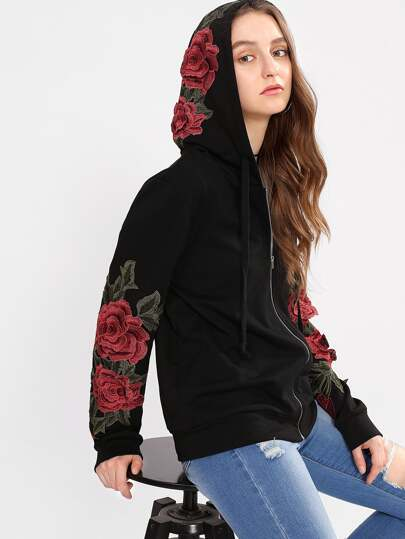 3D Flower Applique Hoodie Jacket
