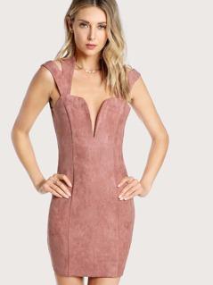 Deep V Sleeveless Dress DARK MAUVE