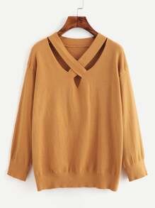 Criss Cross Front Jersey Sweater