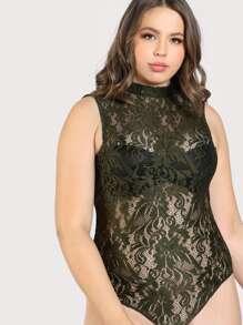 Sleeveless Mock Neck Lace Bodysuit