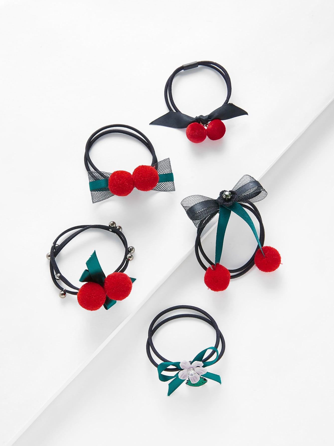 Bow Pom Pom Hair Tie 5pcs pom pom decorated hair tie