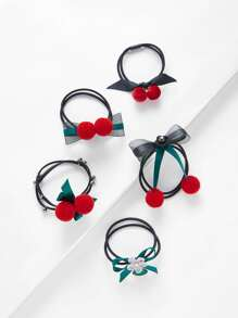 Bow Pom Pom Hair Tie 5pcs