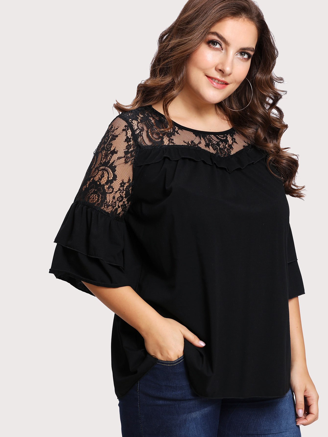 Floral Lace Yoke Solid Tee lace panel yoke tee
