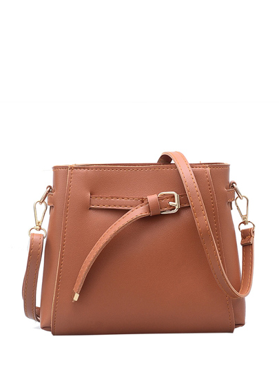 Drawstring Buckle Shoulder Bag