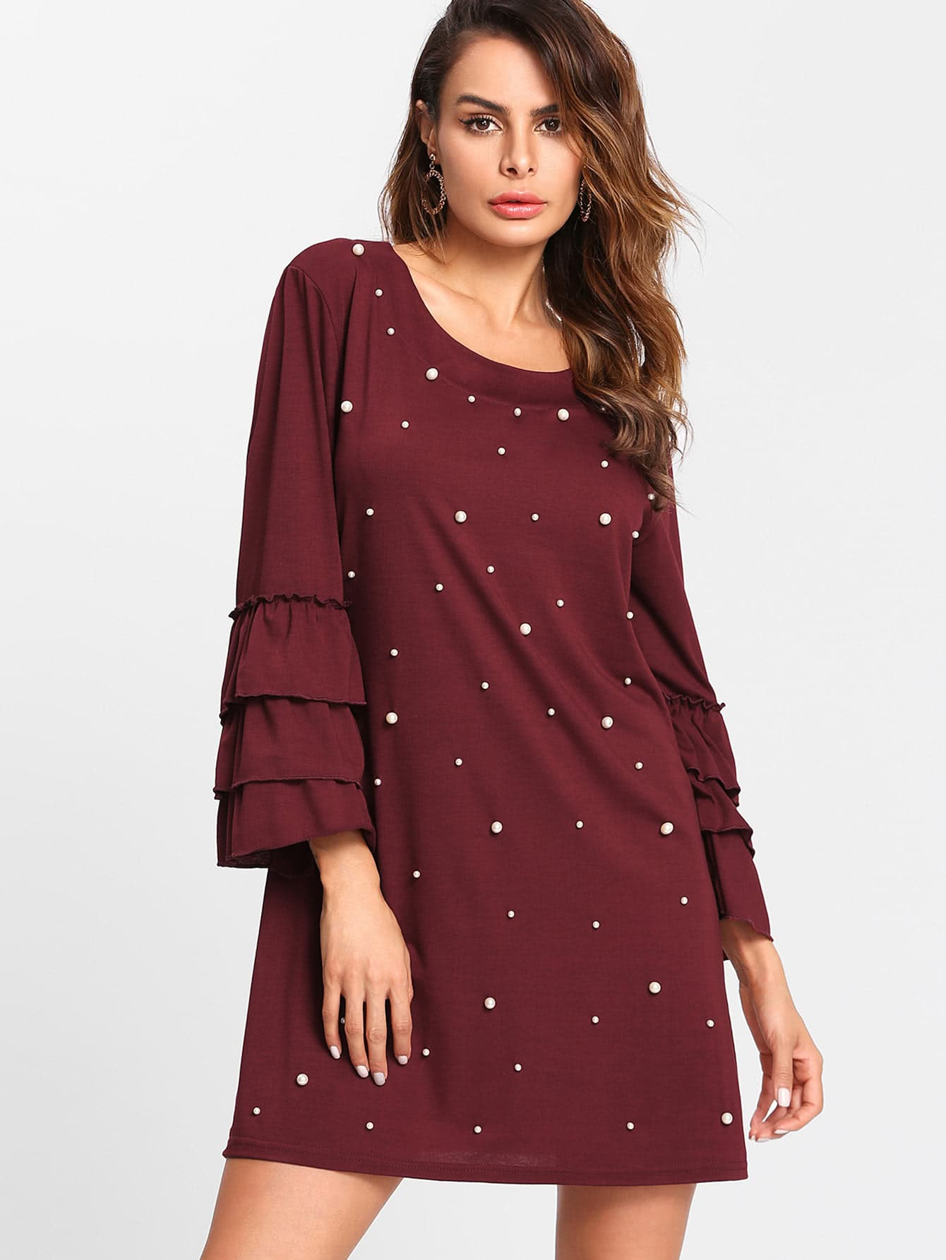 Pearl Beading Layered Sleeve Tee Dress frill layered pearl detail sweatshirt dress