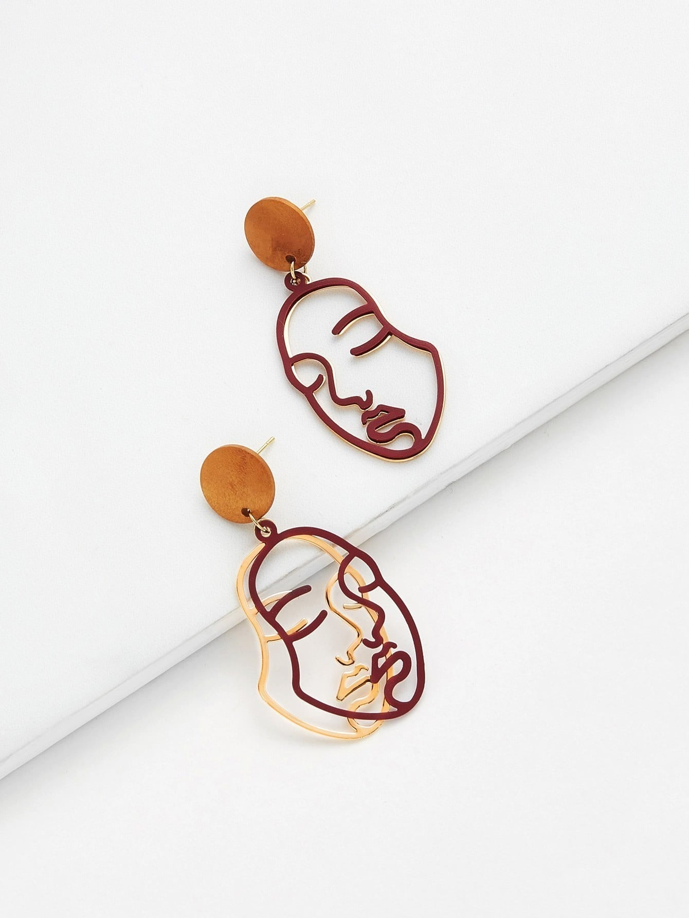 Two Tone Face Design Drop Earrings two tone drop shoulder tee
