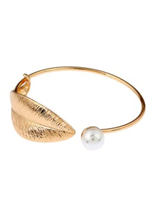 Faux Pearl Detail Leaf Cuff Bangle