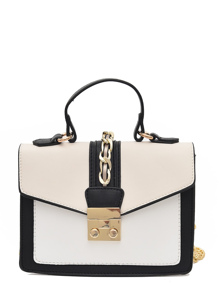 Faux Leather Chain Decorated Flap Bag