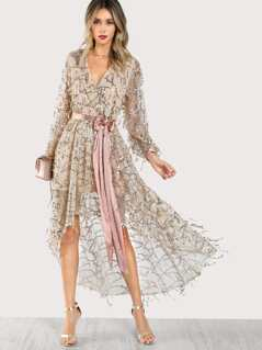 Long Sleeve Sequines High Low Wrap Dress ROSE