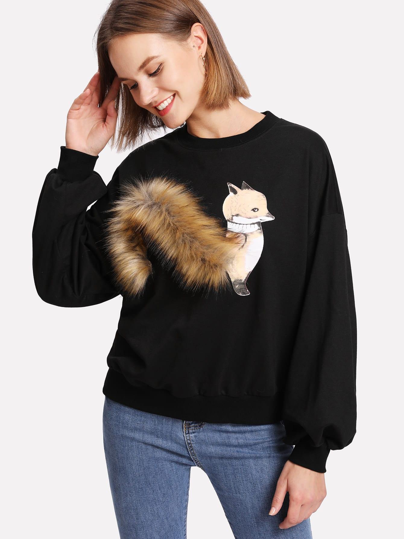 Faux Fur Fox Applique Sweatshirt drop shoulder contrast faux fur sleeve sweatshirt