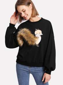 Faux Fur Fox Applique Sweatshirt