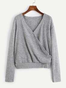 V Neckline Surplice Sweater