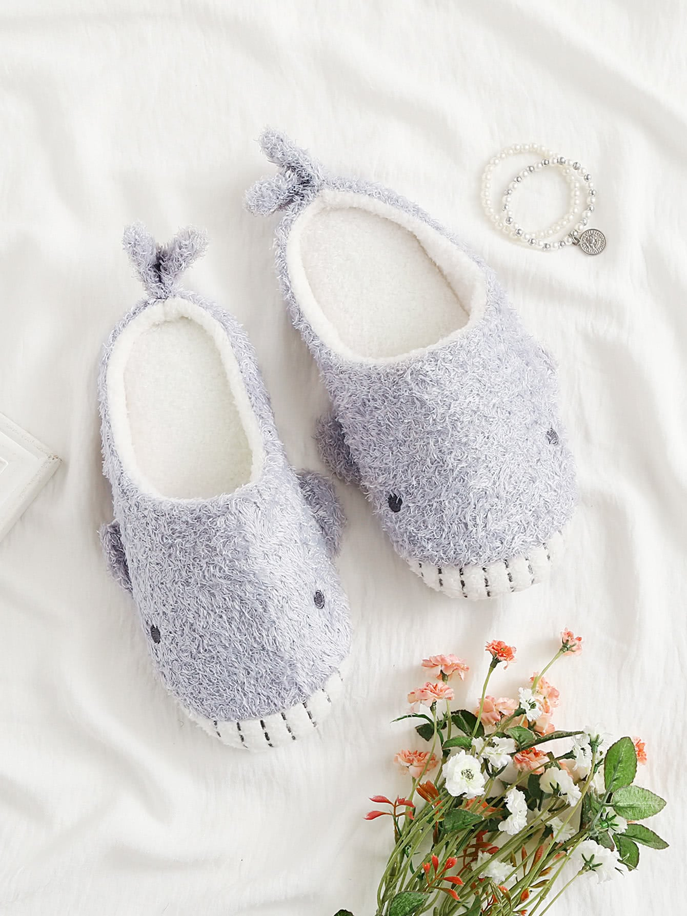 Image of Shark Design Fuzzy Slippers