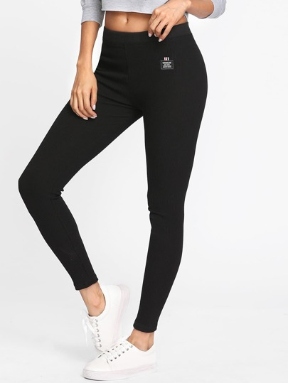 Patch Detail Ribbed Leggings