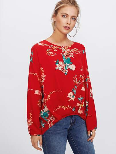 Pleated Dip Hem Floral Top