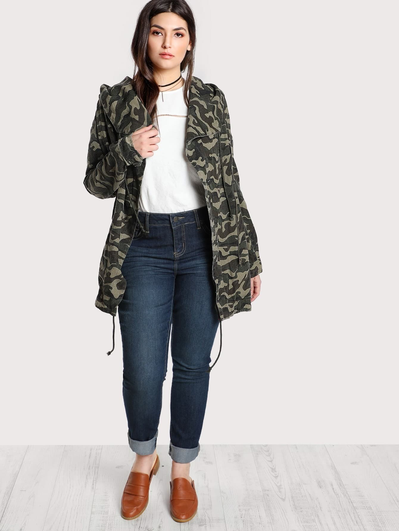 Image of Camo Print Longline Hooded Jacket