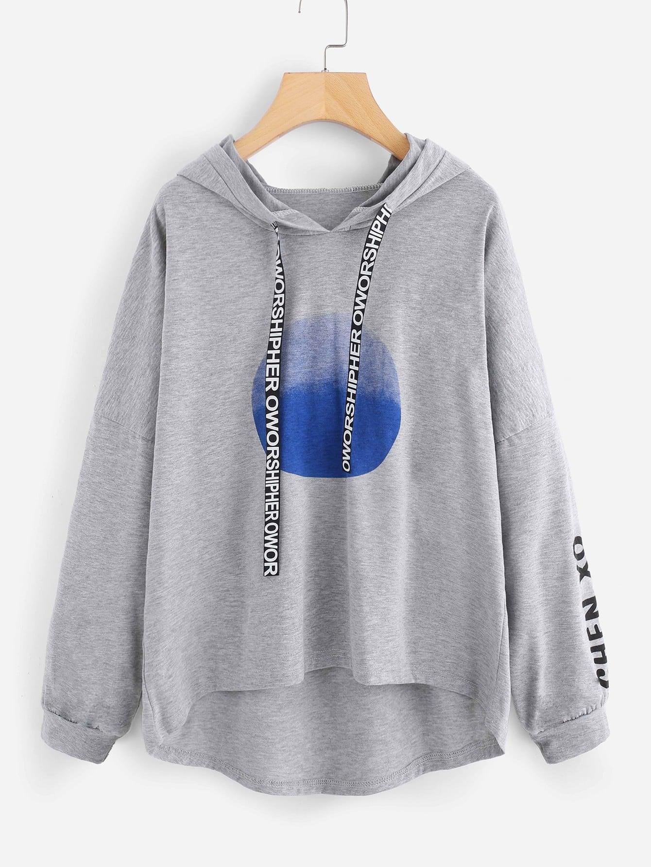 Letter Tape Detail Drop Shoulder Dip Hem Hoodie fringe and braided tape detail drop shoulder sweatshirt
