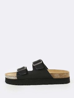 Double Buckle Slide Sandals BLACK