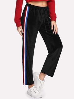 Striped Tape Side Velvet Sweatpants