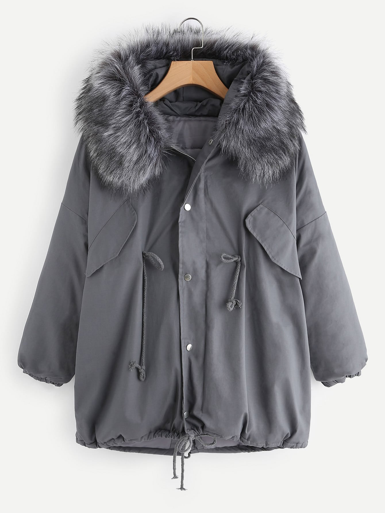 Contrast Faux Fur Hooded Parka Coat -SheIn(Sheinside)