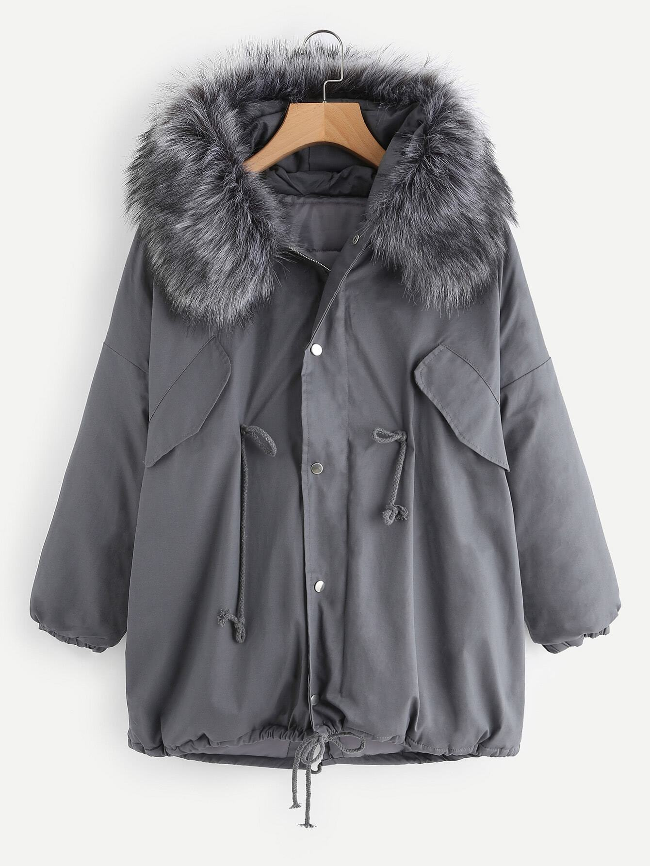 Contrast Faux Fur Hooded Parka Coat outer171107130
