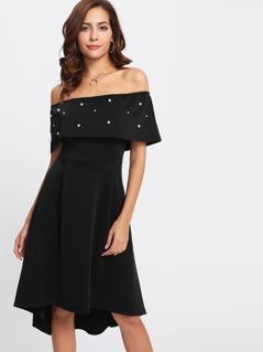 Pearl Detail Flounce Layered Asymmetrical Hem Dress