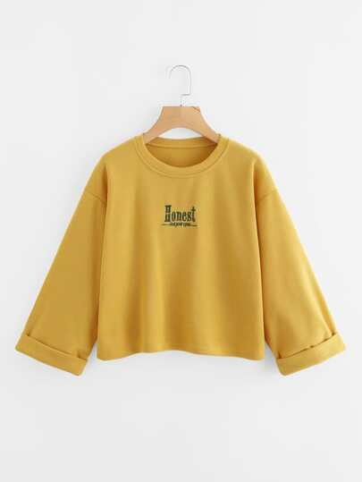 Drop Shoulder Embroidered Letter Cuffed Sweatshirt