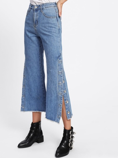 Magnetic Button Side Wide Leg Jeans